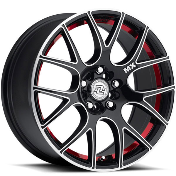 Drag Concepts R21 Gloss Black with Machined Face and Red Stripe