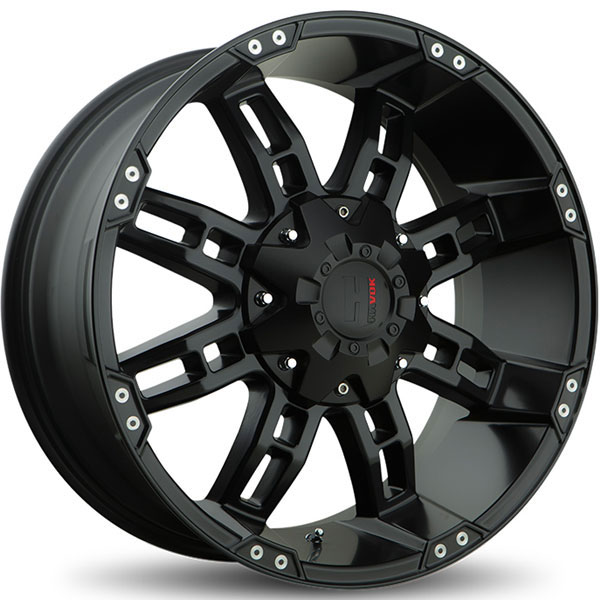 Havok Off-Road H103 Gloss Black with Milled Rivets