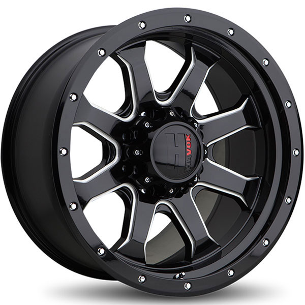 Havok Off-Road H105 Gloss Black with Milled Rivets