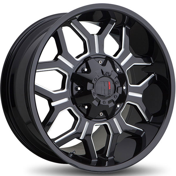 Havok Off-Road H106 Gloss Black with Milled Rivets