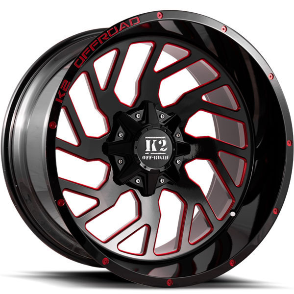 K2 OffRoad K12 Shockwave Gloss Black with Red Milled Spokes
