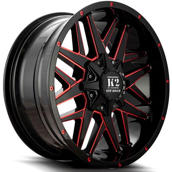 K2 OffRoad K15 Mayhem Gloss Black with Red Milled Spokes