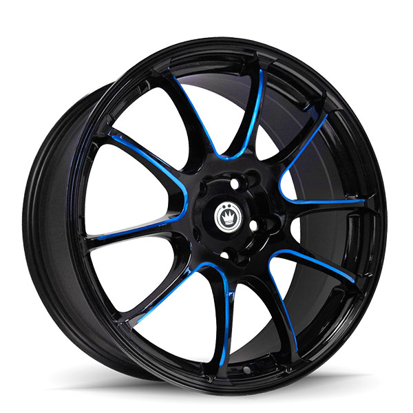 Konig Illusion Gloss Black with Blue Spoke Accents