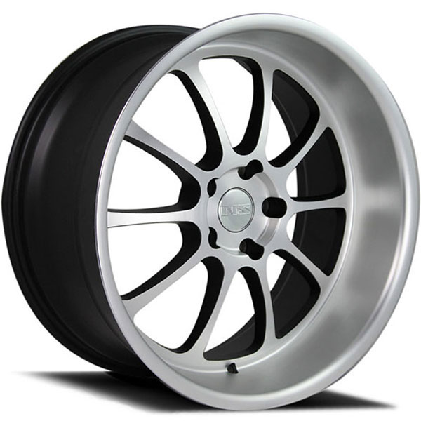 NS Series Drift-Ten Matte Black with Silver Face and Machined Lip