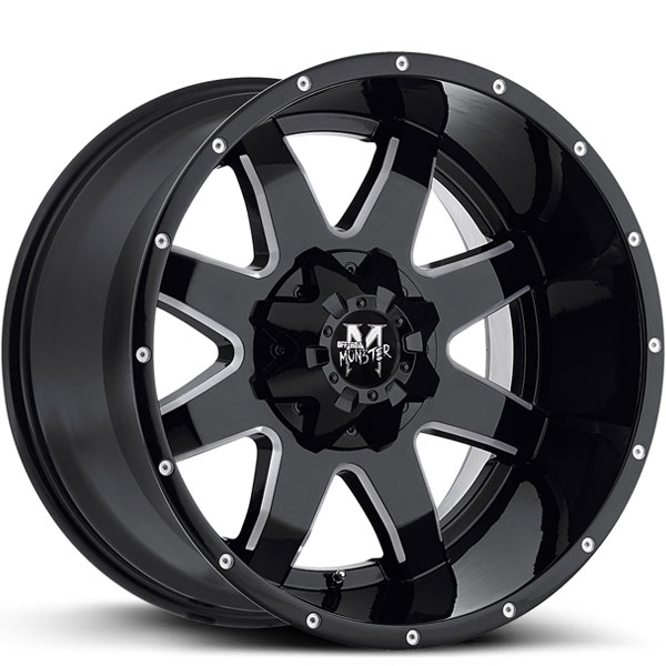 Off-Road Monster M08 Gloss Black with Milled Spokes V2