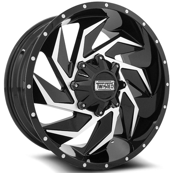 Twisted Off-Road T-27 Vixon Black with Machined Face