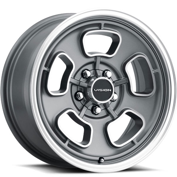 Vision 148 Shift Satin Grey with Machined Face and Lip 5 Lug