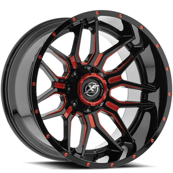XF Off-Road XF-222 Gloss Black with Red Milled Spokes